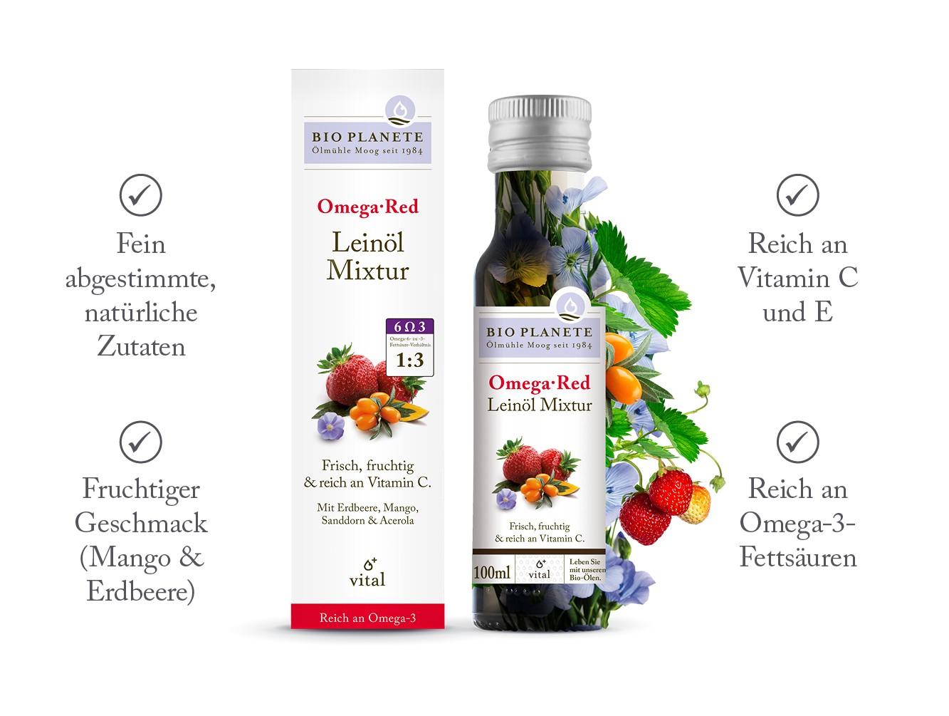 Produktbild der Leinöl-Mixtur Omega Red von BIO PLANÈTE