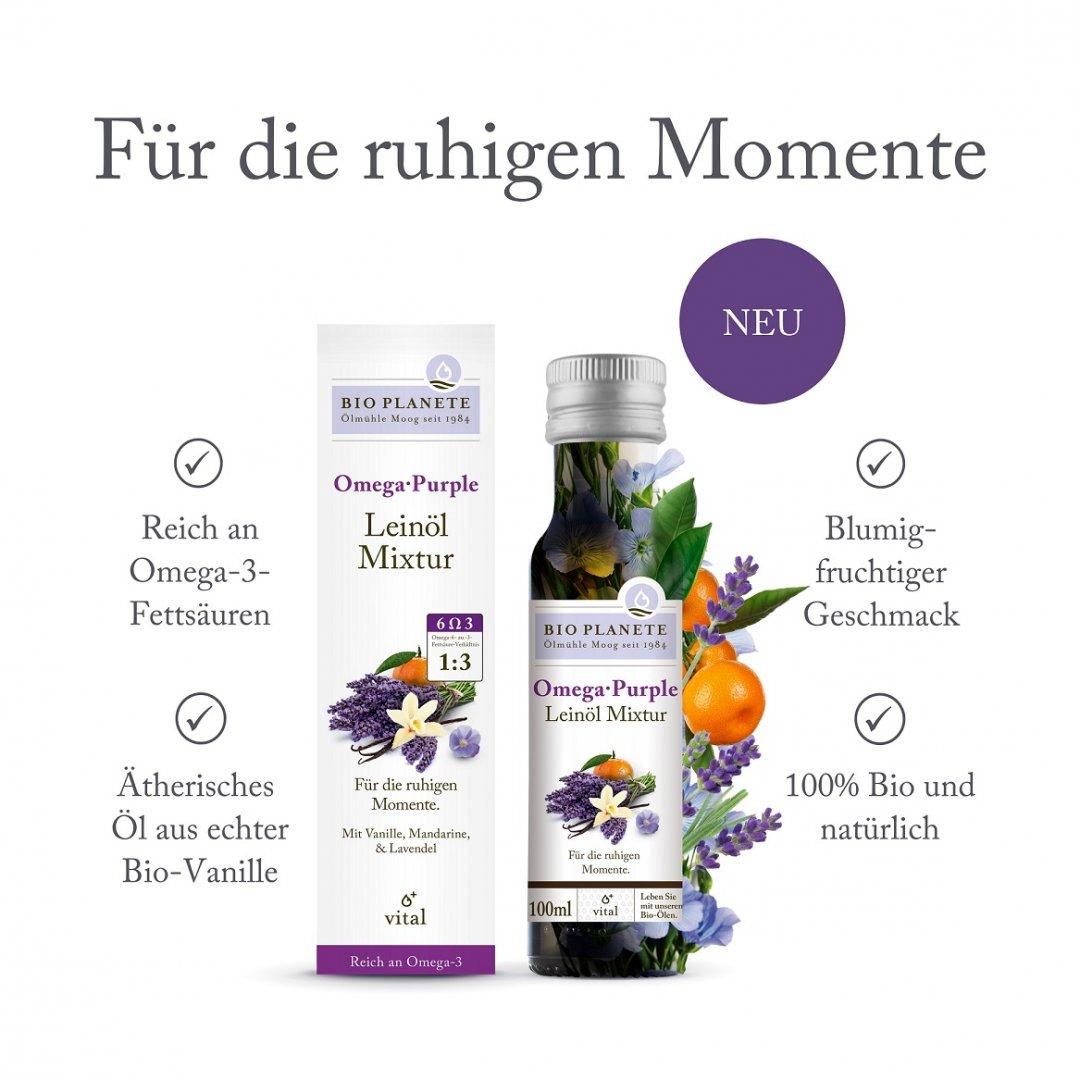 Omega Purple Leinöl-Mixtur - Packshot mit USPs